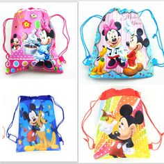 1pcs non-woven fabric backpack Minnie mickey party supplies child travel school bag decoration mochila cartoon drawstring bag