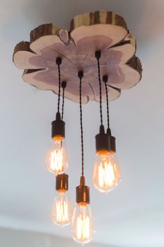 Modern Live-Edge Cedar Chandelier/Light Fixture by 7MWoodworking