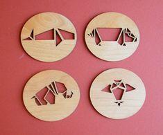 Origami Animals - Laser Cut Adler Wood Coasters - Set of 4 on Etsy, $20.00