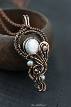 Wire wrapped Pearls pendant Heady Wire wrap pendant Artisan