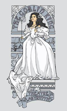 Labyrinth fantasy dress illustration.