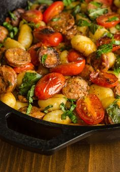 Recipe: Gnocchi Skillet with Chicken Sausage & Tomatoes — Recipes from The Kit. Recipe: Gnocchi Skillet with Chicken Sausage & Tomatoes — Recipes from The Kitchn Tomato Sausage Recipe, Gnocchi Sausage Recipe, Romantic Meals, Romantic Recipes, Romantic Food, Romantic Picnics, Gula, 15 Minute Meals, Cooking Recipes