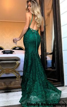 Trumpet Mermaid V Neck Lace Sweep Train Lace Open Back Dark Green Long Prom Dresses