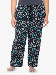 A Hello Kitty and leopard spot print make these soft black sleep pants wildly cute - and perfect for laid-back weekends off. Drawstring waist and faux-button fly.