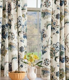 Jacobean Floral Lined Rod Pocket Curtains