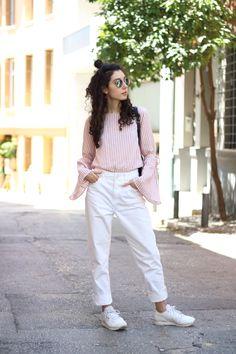 Pink Stripes #flaredsleeves #pink