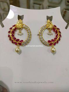 Gold Designer Ruby Earrings, Gold Ruby Earrings Designs, Gold Earrings with Rubies.