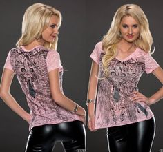 T-Shirt mit Ornament Muster und Strass, transparent Damenmode - online kaufen - traumshop2000.de