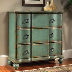 Pulaski Furniture 739276 Hall Chest Decorative Storage Cabinet, Weathered Blue