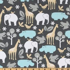 Michael Miller Baby Zoology Sea from @fabricdotcom  Designed for Michael Miller Fabrics, this cotton print fabric is perfect for quilt or craft projects, apparel and home décor accents. Colors include shades of grey, sea, sand and white.