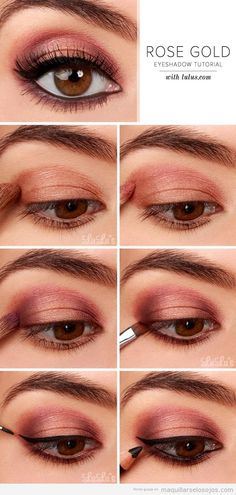 Tutorial aprender maquillaje ojos rosa y dorado