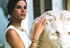 Greek actress Elena Nathanael wearing ancient greek jewelry, photographed by Jack Garofalo for Paris Match in the Atrium of the National Archaeological Museum of Athens, Ali Mcgraw, Greek Icons, Vintage Outfits, Vintage Fashion, Vintage Style, Greek Beauty, Actor Studio, Paris Match, Images And Words