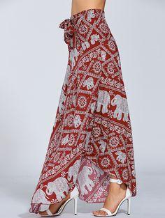 Maxi Boho Skirt - RED ONE SIZE