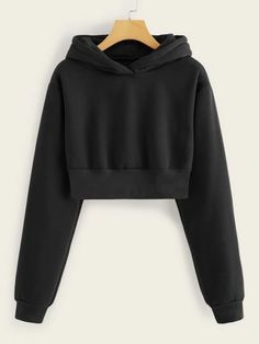 Solid Drop Shoulder Crop Hooded SweatshirtCheck out this Solid Drop Shoulder Crop Hooded Sweatshirt on Romwe and explore more to meet your fashion needs! Girls Fashion Clothes, Teen Fashion Outfits, Outfits For Teens, Girl Outfits, Emo Outfits, Grunge Outfits, Punk Fashion, Lolita Fashion, Spring Outfits