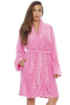 Kimono Robe   Velour Scalloped Texture Bath Robes for Women - Rose -  CW12HJF1BM1 031417359