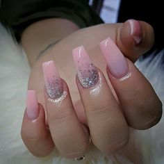 Pink and Glitter Nails. Holo Glitter Nails. Acrylic Nails. Gel Nails.