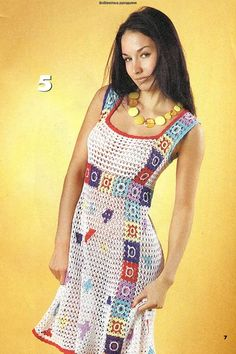 Summer dress with colored squares - diagram at site