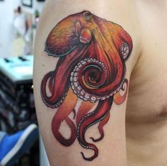 Red Octopus Tattoo by Pride Tattoo