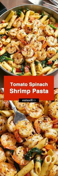 Tomato Spinach Shrimp Pasta Bold flavors star in this one pot dinner ready in 30 minutes. Al dente pasta is tossed with spicy grilled shrimps tomatoes fresh spinach garlic and a drizzle of o Fish Recipes, Seafood Recipes, Cooking Recipes, Healthy Recipes, Seafood Pasta, Recipies, Spicy Pasta, Healthy Shrimp Pasta, Shrimp And Spinach Recipes