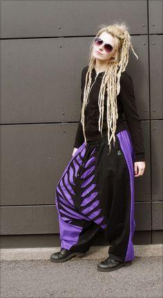 Harempants purple/black  #goafashion #harempants #handmade
