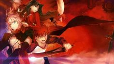 Preview wallpaper fate stay night, anime, warrior, space, background 1920x1080