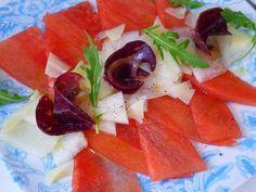 La Chef A: Carpaccio de sandía y melón con cecina Caprese Salad, Blog, Entrees, Mesas, Cooking, Blogging, Insalata Caprese