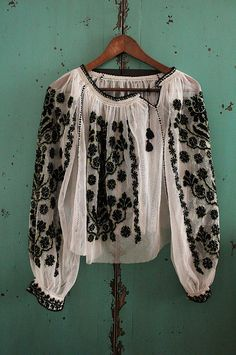 white black embroidered ethno blouse