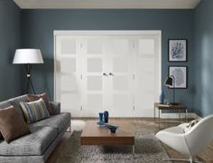 Freefold Shaker 4 Panel White Internal Folding Sliding Doors