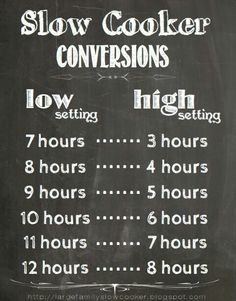 Slowcooker Conversion Table