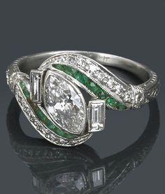deco Rings An Art Deco diamond and emerald ring, circa estimated total diamond weight. An Art Deco diamond and emerald ring, circa estimated total diamond weight: carat; mounted in platinum. Art Deco Schmuck, Bijoux Art Nouveau, Art Nouveau Jewelry, Jewelry Art, Jewelry Accessories, Fine Jewelry, Jewelry Design, Custom Jewelry, Fashion Jewelry