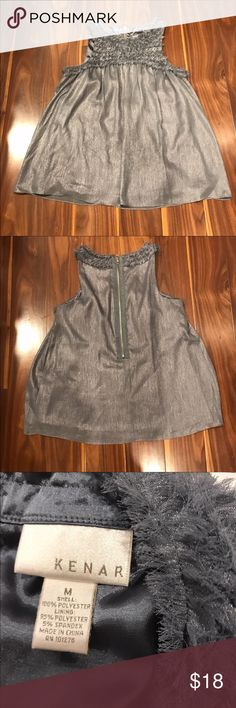 Gorgeous Grey Silky Top This is a beautiful piece to wear with anything from jeans to business wear! In great condition! Kenar Tops Blouses