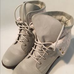 Cream combat boots with lace detail Cream combat boots with lace detail. Worn once, good condition. Rock & Candy Shoes Combat & Moto Boots