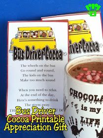 Kandy Kreations: Bus Driver Cocoa Printable: Teacher Appreciation Gift