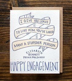 Engagement card with awesome Pride & Prejudice #quote | available at Rock Paper Scissors www.rockpaperscissorsshop.com