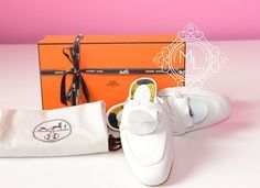 Hermes Womens White OZ Kelly Mules 36 Shoes - New