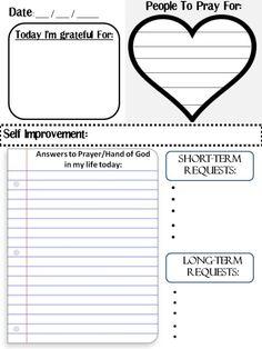Free printable prayer journal template