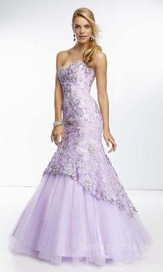 Embellished Sleeveless Sweetheart Tulle Natural Mermaid Prom Dresses Sale bonny35196