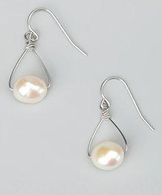 White Hand Wire Pearl Drop Earrings: