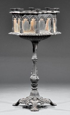 American Gothic Painted Cast Iron Pedestal Wardian Case, c. 1850