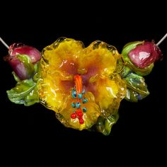 glass lampwork bead flower by Patsy Evins Studio