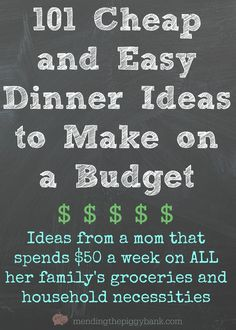101 Cheap and Easy Dinner Ideas to Make on a Budget -- Are you tired of swinging open the refrigerator door after a long, hard day having no clue what you actually want to make for dinner? Unsure of w (Easy Meal On A Budget Diet) Budget Meal Planning, Cooking On A Budget, Food Budget, Easy Budget, Meal Planning Recipes, Food Cost, Tight Budget, Easy Cooking, Frugal Meals