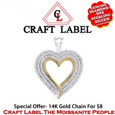 """1.40 Ct White Genuine Diamond 14K Two Tone Gold Heart Promise Pendant Without Chain """"Mother\'s Day Gift"""". Starting at $404"""