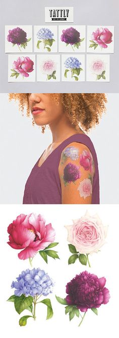 Forget scratch 'n' sniff. Just add water to these gorgeous temporary tattoos for a fresh floral fragrance. Featuring sumptuous flowers by watercolorist Vincent Jeannerot, the Perennial Set is Brooklyn-based Tattly's first set of scented temporary tattoos.