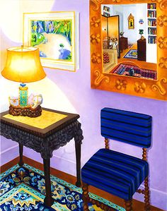 Reflections, by Roxa Smith. Roxa Smith's intricate paintings transform intimate interior scenes into dramatic formal arrangements of li. Arch Interior, Interior Rendering, Inside Art, Cozy House, Art Decor, Home Decor, Painting Inspiration, Colorful Interiors, Home Art
