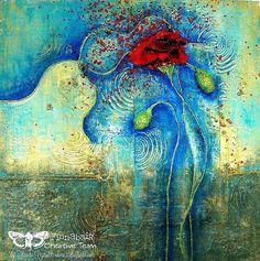 "Mixed media collage painting ""Red Poppy"" for Finnabair CT by Sanda Reynolds www,artfulflight.com"