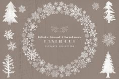 Rustic White Wood Christmas Cliparts by The Paper Town on Creative Market