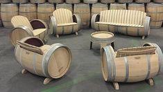 Wijnvat meubelen, tafels stoelen en banken van eiken vaten.