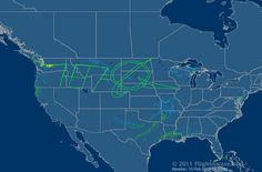 The test flight path for the Boeing 787 traces out its name and the Boeing logo over the US