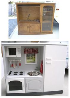 Upcycling used furniture. This is such a neat idea. You can find furniture like this at garage sales and goodwill a lot of the time. Now you can turn it into to something really useful.