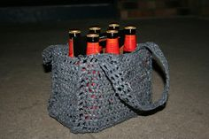 Beer Bottle Tote -- made from crocheted plastic bags. Nice!